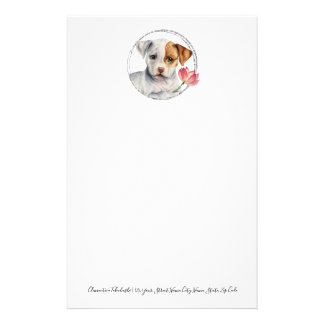Puppy Holding Lotus Flower   Add Your Text Stationery