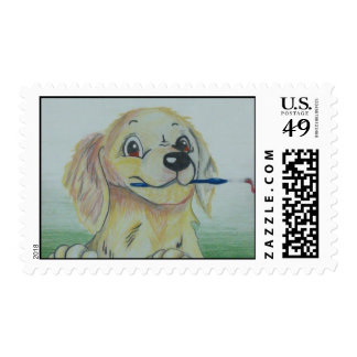 Puppy holding Paintbrush Postage