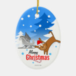 Puppy Holidays Oval Ornament 3