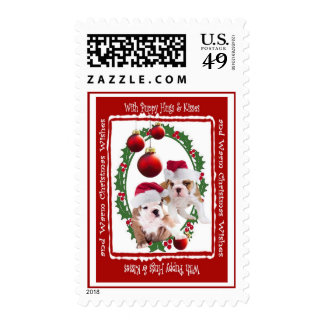 Puppy Hugs & Kisses and Warm Christmas Wishes Postage Stamp