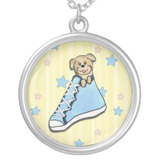 Puppy in a Blue Shoe Necklace