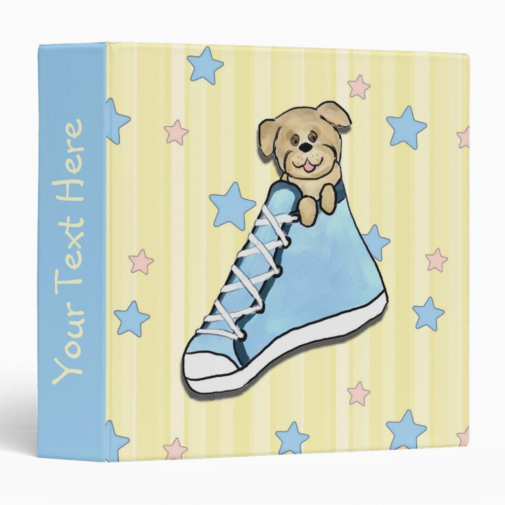 Puppy in a Blue Shoe Scrapbook Binder
