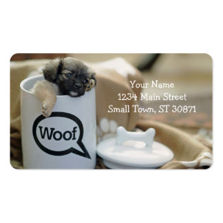 Puppy in a Cup Woof Dog Brown Pet Pack Of Standard Business Cards