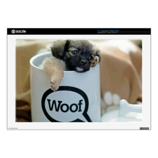 """Puppy in a Cup Woof Dog Brown Pet 17"""" Laptop Decal"""