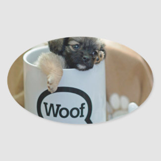 Puppy in a Cup Woof Dog Brown Pet Oval Sticker
