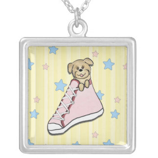 Puppy in a Pink Shoe Necklace