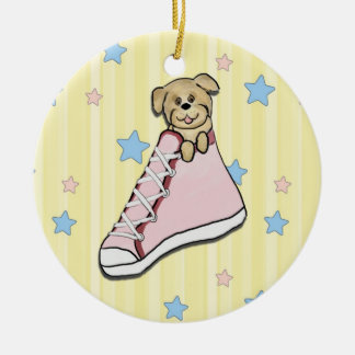 Puppy in a Pink Shoe Ornament
