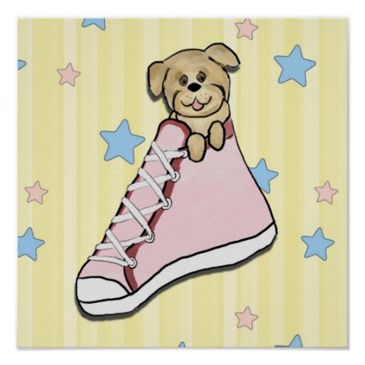 Puppy in a Pink Shoe Poster Print