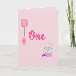 Puppy In Bath One Year Old Girl Birthday Card