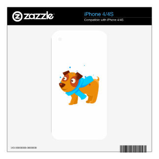 Puppy In Blue Scarf Walking Outside In Winter Decals For The iPhone 4S