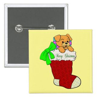 Puppy in Christmas Stocking Pinback Buttons