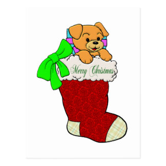 Puppy in Christmas Stocking Postcard