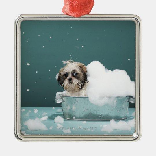 Puppy in foam bath metal ornament