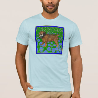 Puppy in Garden - Blue T-Shirt