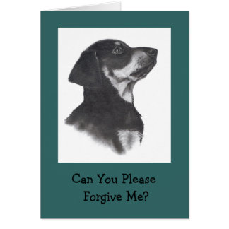 PUPPY IN PENCIL: SORRY; PLEASE FORGIVE CARD