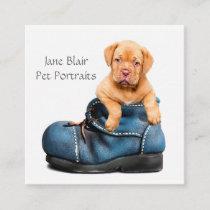 Puppy In Shoe Pet Portrait Photographer Studio Square Business Card