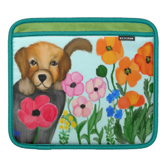 Puppy in the Flower Garden Sleeve For iPads