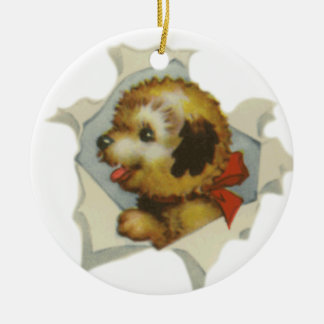 puppy in torn paper ceramic ornament