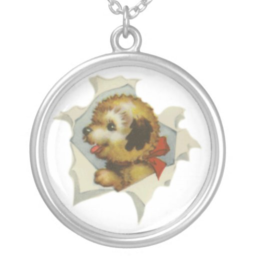 puppy in torn paper round pendant necklace