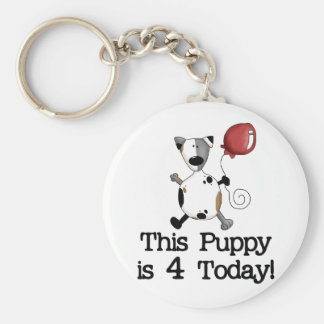Puppy is 4 Birthday Tshirts and Gifts Keychain
