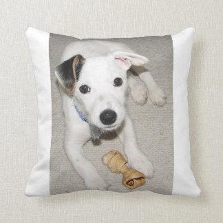 puppy jack russell terrier throw pillow