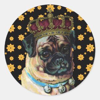 Puppy King Classic Round Sticker