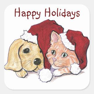 Puppy, Kitten Santa Cap Christmas Stickers