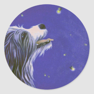 puppy looking at firefly classic round sticker