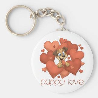 Puppy Love 2 Basic Round Button Keychain
