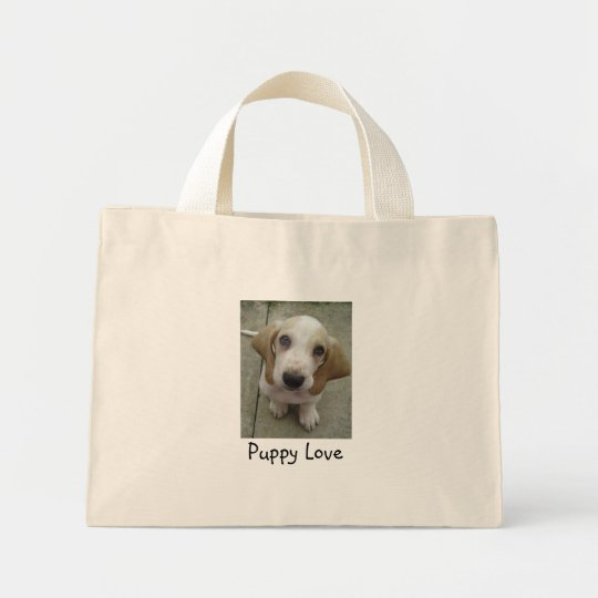 Puppy Love basset puppy Mini Tote Bag