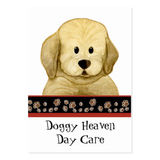 """Puppy Love,"" Brown Puppy Paws Art Doggy Day Care Large Business Card"
