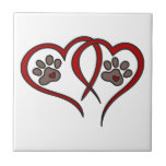 """Puppy Love Ceramic Tile<br><div class=""""desc"""">Dog leave pawprints forever on your heart.  What a perfect design for dog lovers everywhere!</div>"""