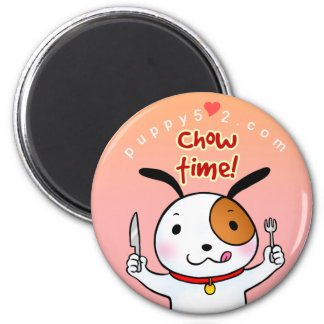 Puppy Love Chow Time 2 Inch Round Magnet