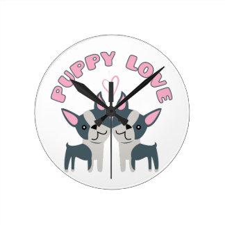 Puppy Love Round Wallclocks