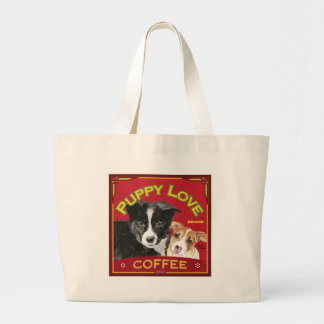 Puppy Love Coffee Large Tote Bag