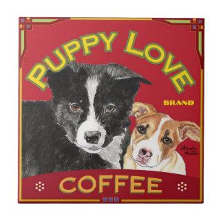 Puppy Love Coffee Small Square Tile