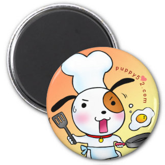 Puppy Love Cooking 2 Inch Round Magnet