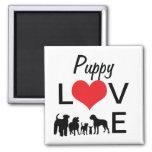 Puppy love dog silhouette fridge magnet, gift idea