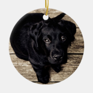 puppy love Double-Sided ceramic round christmas ornament
