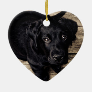 puppy love Double-Sided heart ceramic christmas ornament