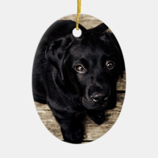 puppy love Double-Sided oval ceramic christmas ornament