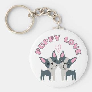 Puppy Love Basic Round Button Keychain