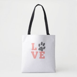 Puppy Love Paw Tote Bag