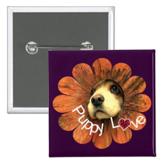 Puppy Love Peeking Out of a Flower Pinback Button