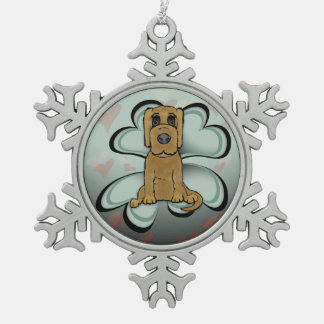 Puppy Love Snowflake Pewter Christmas Ornament