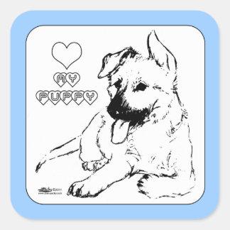Puppy Love Square Sticker