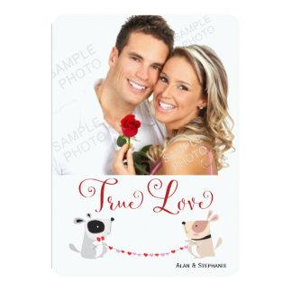 Puppy Love Valentines Day Photo 5x7 Paper Invitation Card