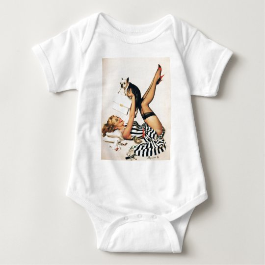 Puppy Lover Pin-up Girl - Retro Pinup Art Baby Bodysuit