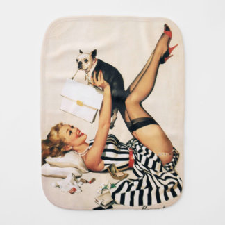 Puppy Lover Pin-up Girl - Retro Pinup Art Burp Cloth