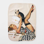 Puppy Lover Pin-up Girl - Retro Pinup Art Burp Cloths